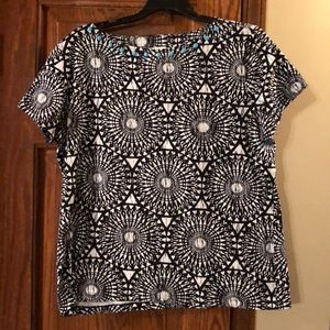 Tops - NWOT Black, white and turquoise top